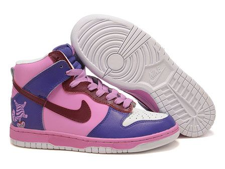 new product 87079 54bf3 Nikes Cheshire Cat Dunk Hi Alice in Wonderland Shoes