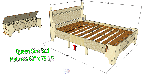 Queen Size Folding Bed Version 1 Box Bed Murphy Bed Plans