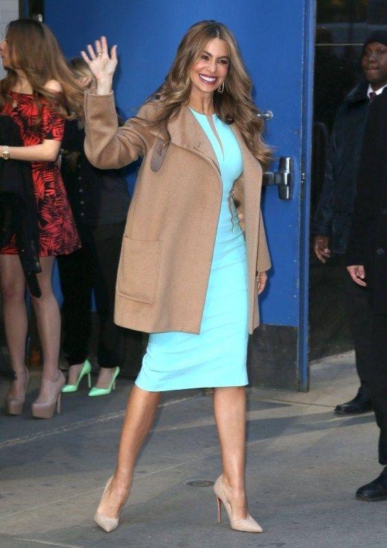 Sofia Vergara - Michael Kors Pebble Crepe Dress with sheer cutouts...Simple and classy