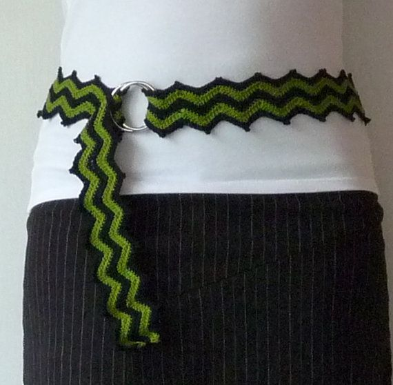 Olive green and black cheveron crochet cotton by SunisSerendipity