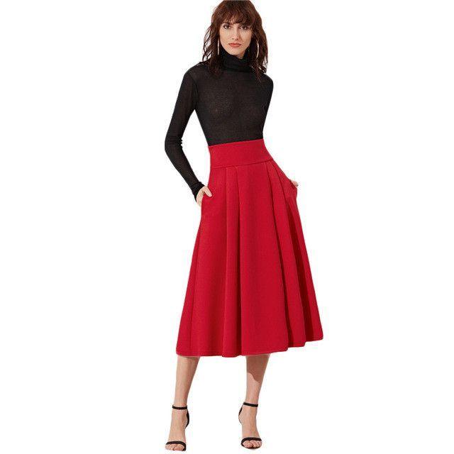 c3dabdcf69 Pleated Midi Skirt Women Red Wide Waistband Side Zip Box Skirts New Fashion  Spring Elegant Ladies Long Skirt