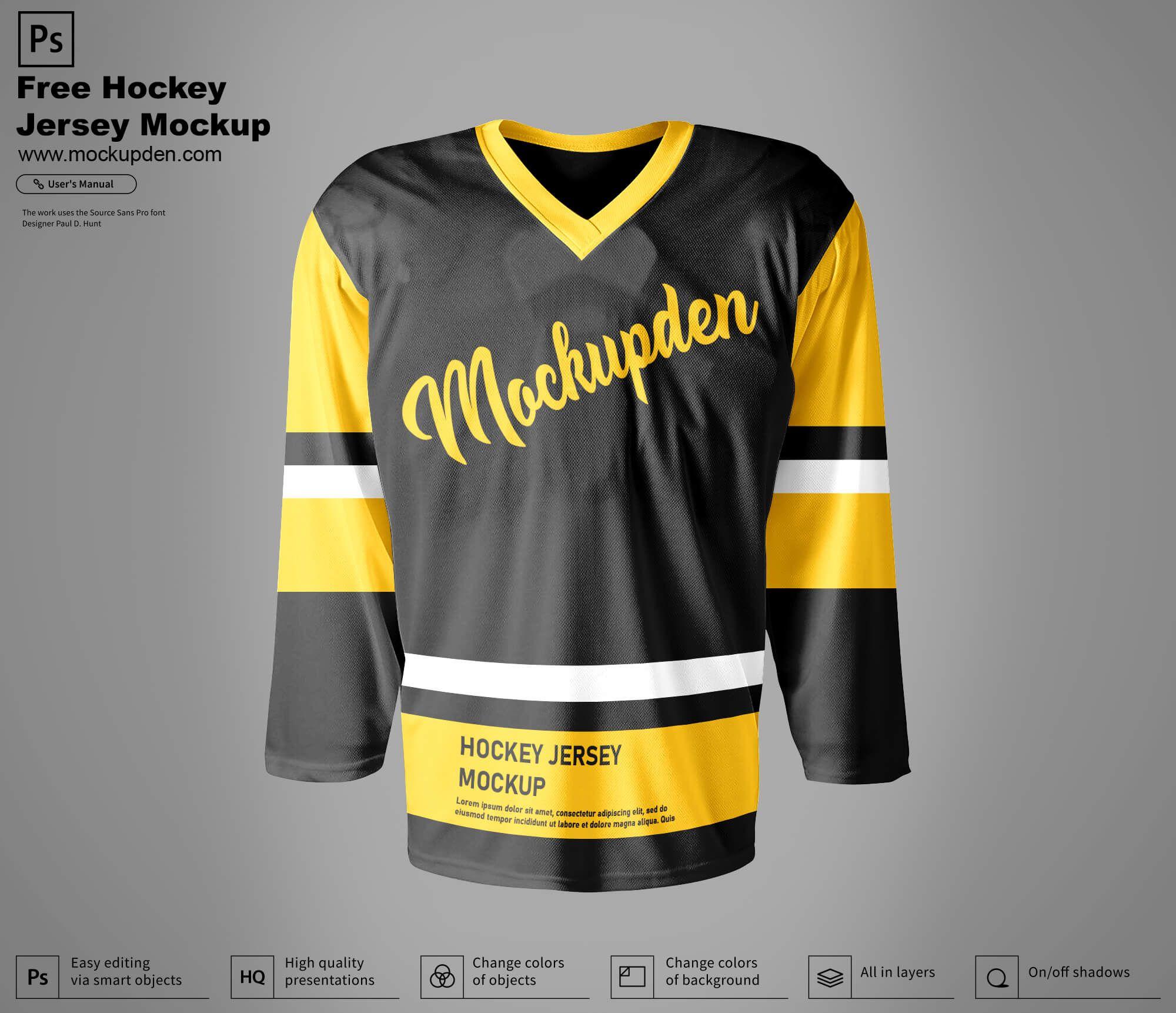 Free Hockey Jersey Mockup Psd Template Mockup Psd Hockey Jersey Clothing Mockup