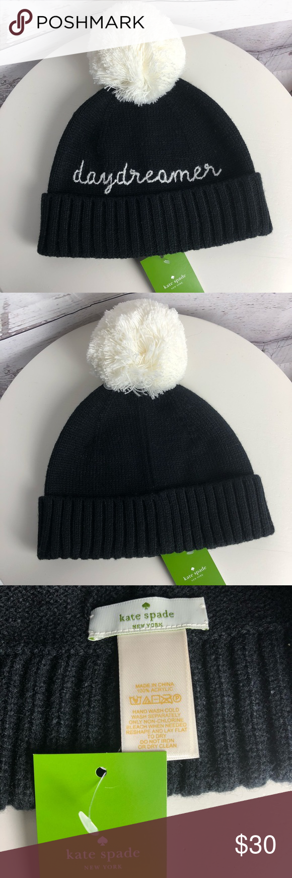 c1993545095e0 🎄SALE🎄Kate Spade Daydreamer Beanie Super cute beanie from Kate Spade!  Just in time for the holidays! 100% Acrylic Stitched  Daydreamer   lettering