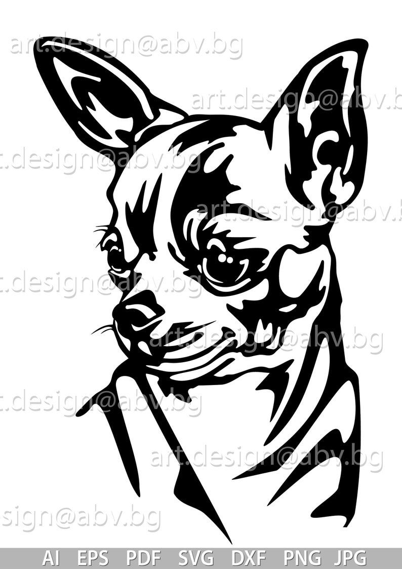 Vector Chihuahua Dog Svg Ai Png Pdf Eps Dxf Jpg Download Digital Image Graphical Animal Discount Coupons Honden Dieren Silhouet