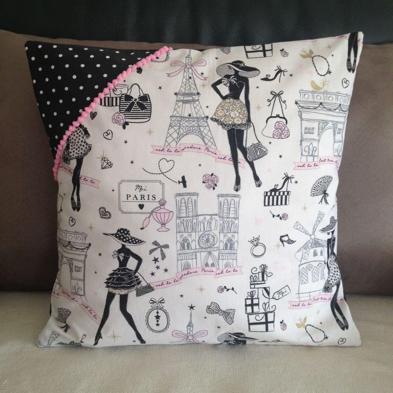housse de coussin r tro chic la parisienne n 4 en tissu pois et galon rose couture et. Black Bedroom Furniture Sets. Home Design Ideas