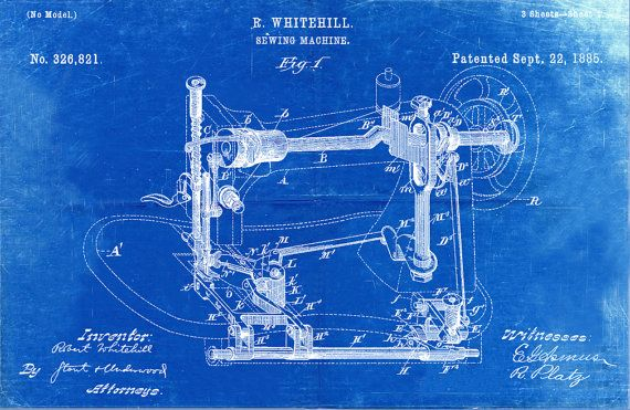 Blueprint Art of Patent Sewing Machine 1885Technical Drawings ...