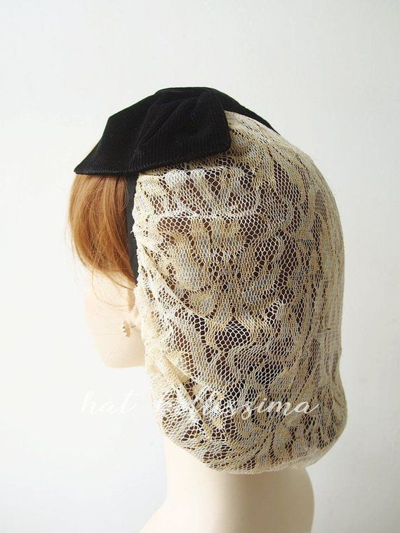 661e3a146 SALE black and Ivory 1940's snood Women's hat hatbellissima ...