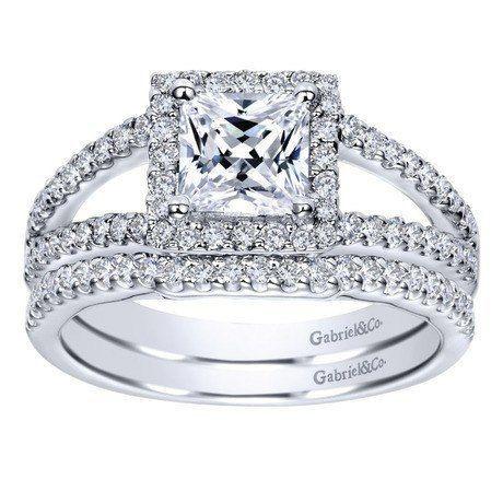 1.32cttw Princess Cut Halo Split Shank Diamond Engagement Ring