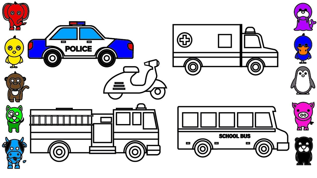 Learn Colors for Kids with Police Car Coloring Pages, Fire Truck ...