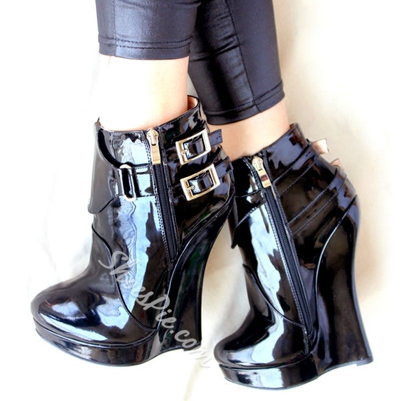 40e660ff2b99 Shoespie Double Metal Buckles Side zipper Wedge Heels