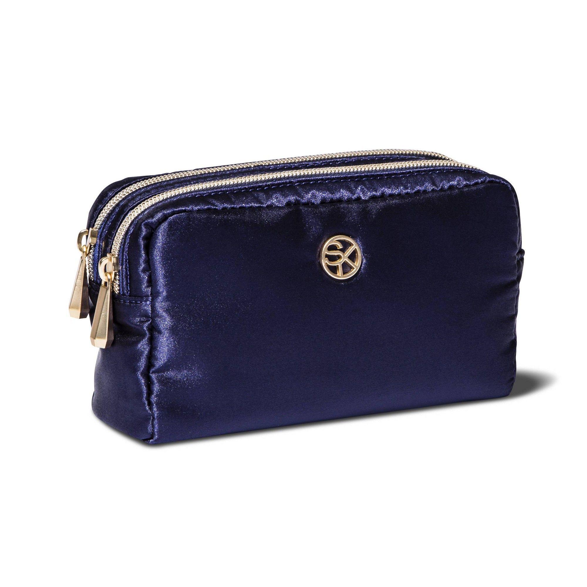 Sonia Kashuk Double Zip Organizer Bag Satin Blue Violet