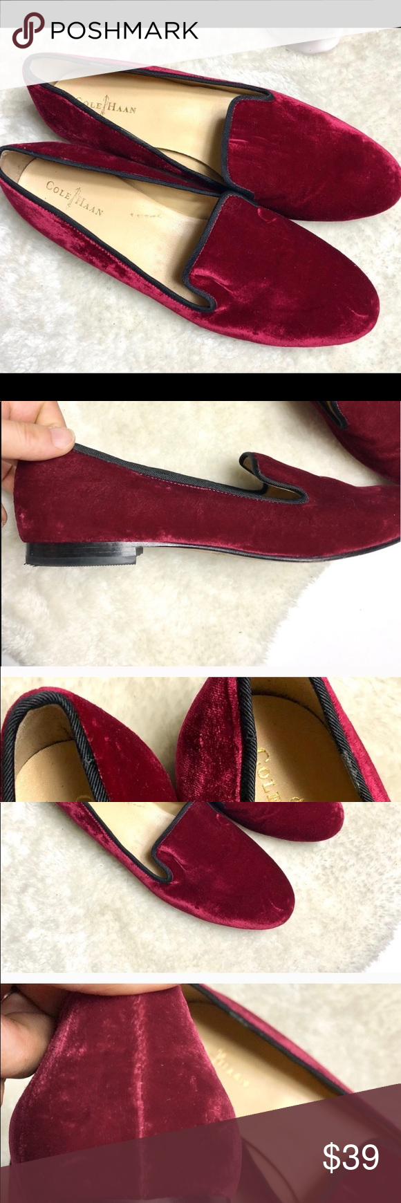 Cole Haan red velvet slippers