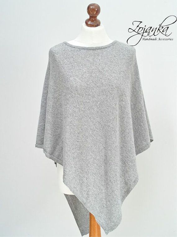 GRAY PONCHO wrap, poncho cape, autumn fashion cape, gift ideas ...