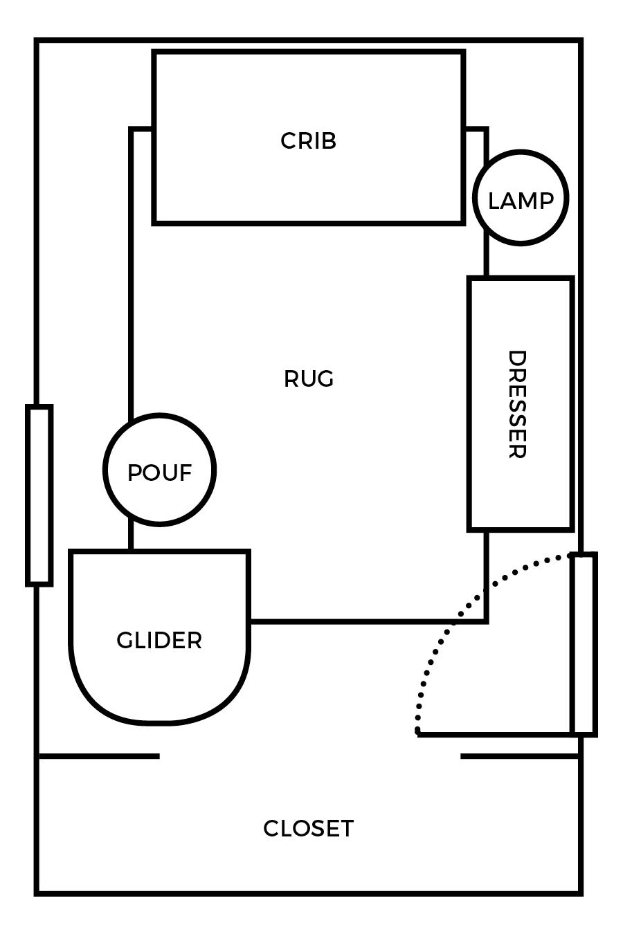 Small Nursery Layout U0026 3 D Room Mockup