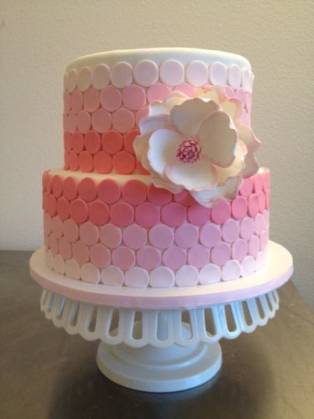 Pink ombre dots and girly flower Cakespiration Pinterest