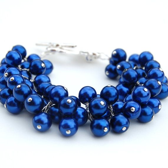 Royal Blue Pearl Cer Bracelet Bridesmaid Something Jewelry
