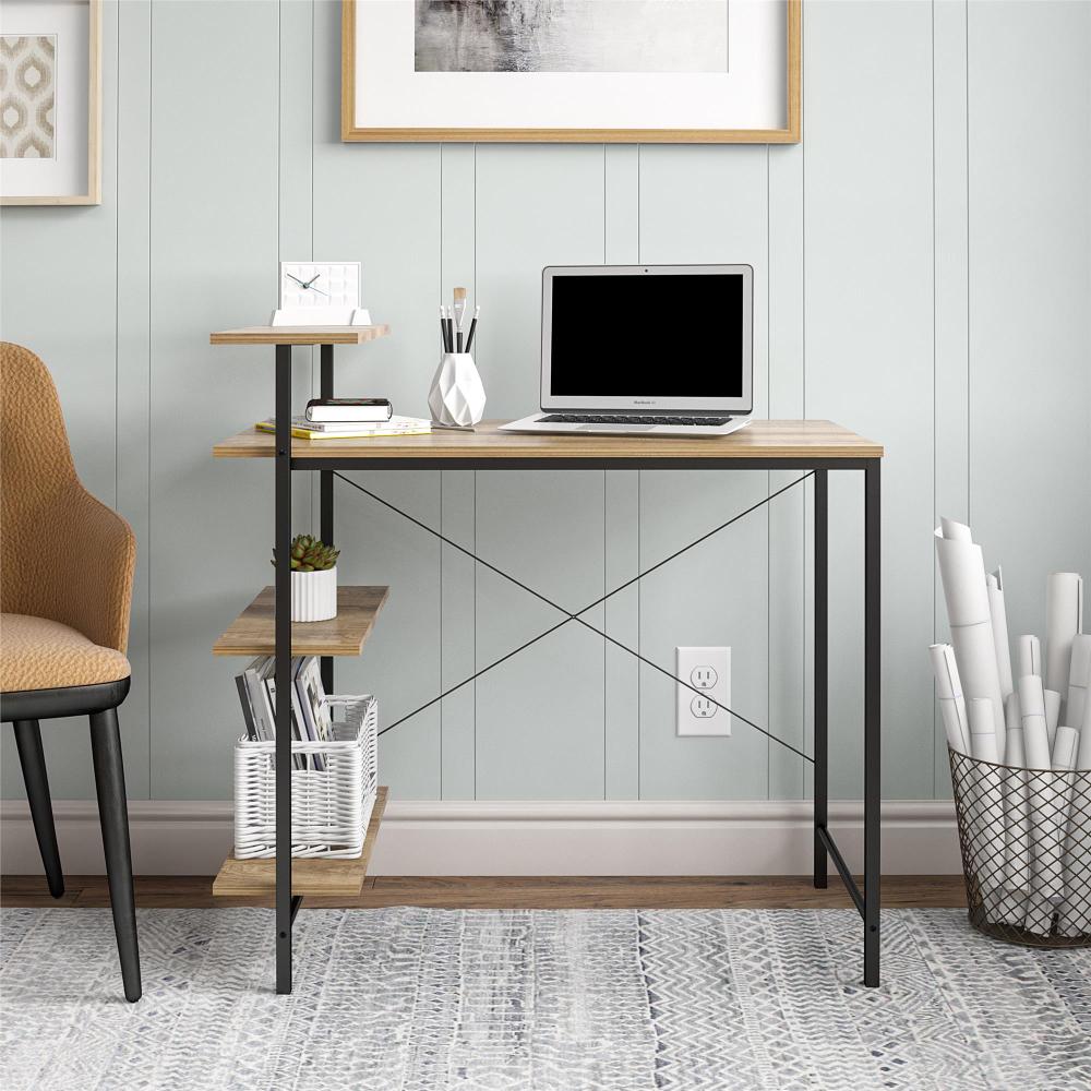 Mainstays Side Storage Student Desk Golden Oak Walmart Com In 2020 Student Desks Golden Oak Bedroom Workspace