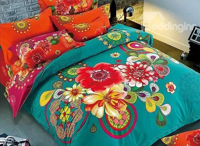 Magnificent Big Flowers Design 100 Cotton 4 Piece Duvet Cover Sets Duvet Cover Sets Bedding Sets Luxury Bedding Sets