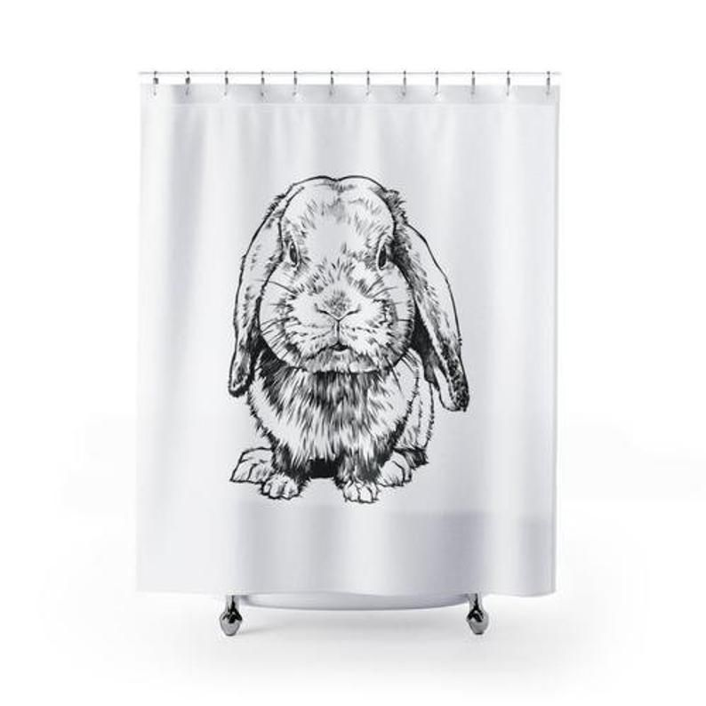 Rabbit Shower Curtain Pet Animal Bunny Shower Curtains Set Bath