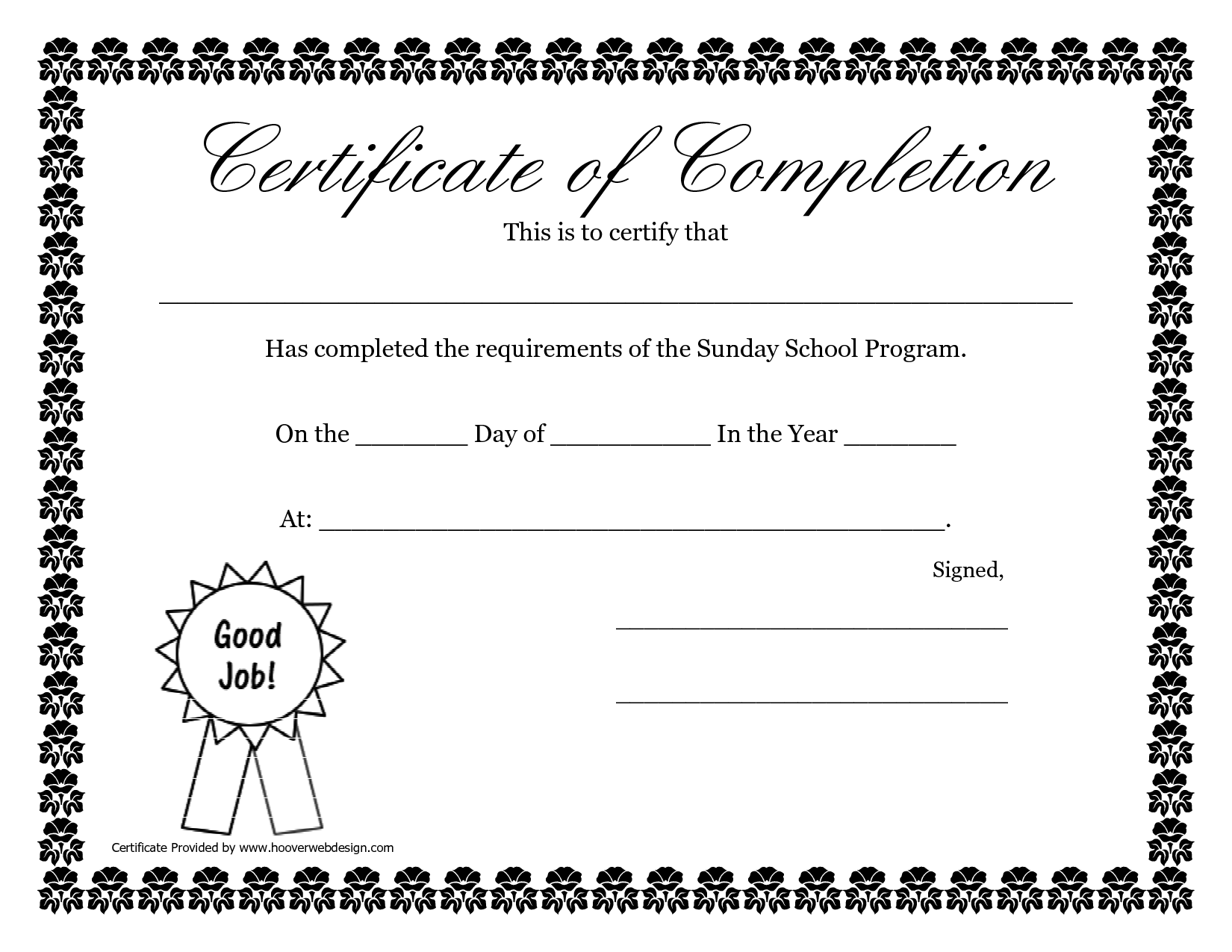 Sunday School Promotion Day Certificates Sunday School Certificate