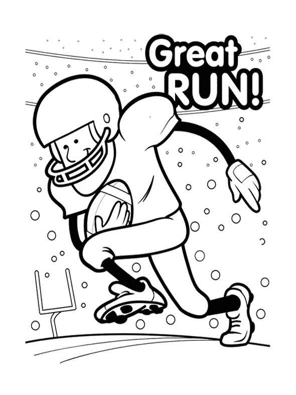 super bowl great run coloring page for kids printables pinterest