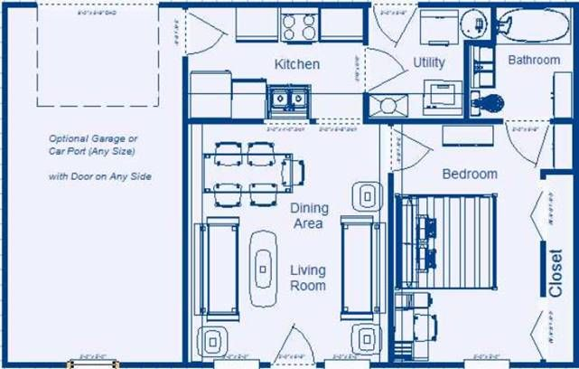 Home Floor Plan 624 Sq Ft 1 Bedroom 1 Bathroom Low Income Home Courtyard House Plans Master Suite Floor Plan House Plans