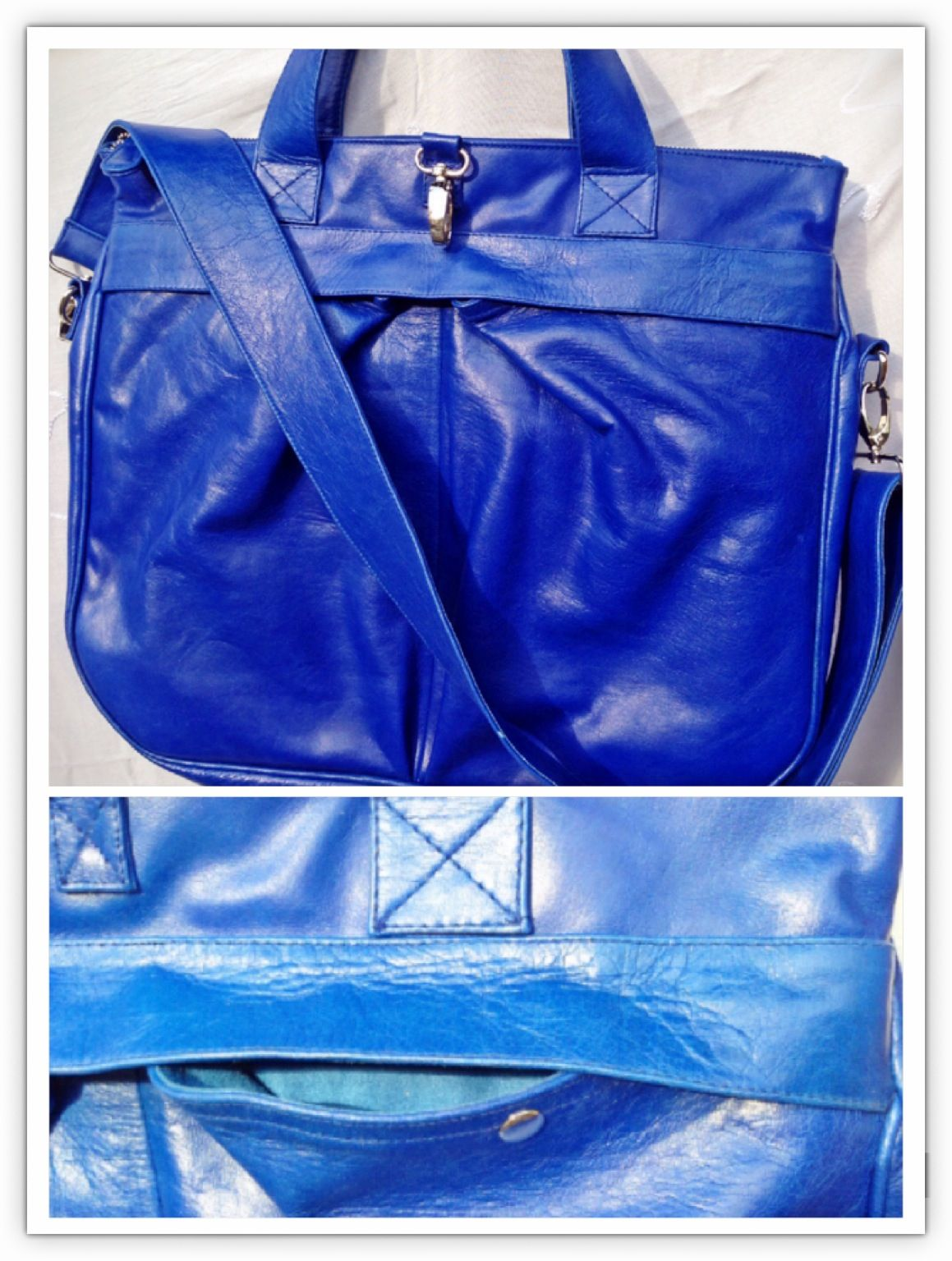 The sky is blue so does my bag 100% leather