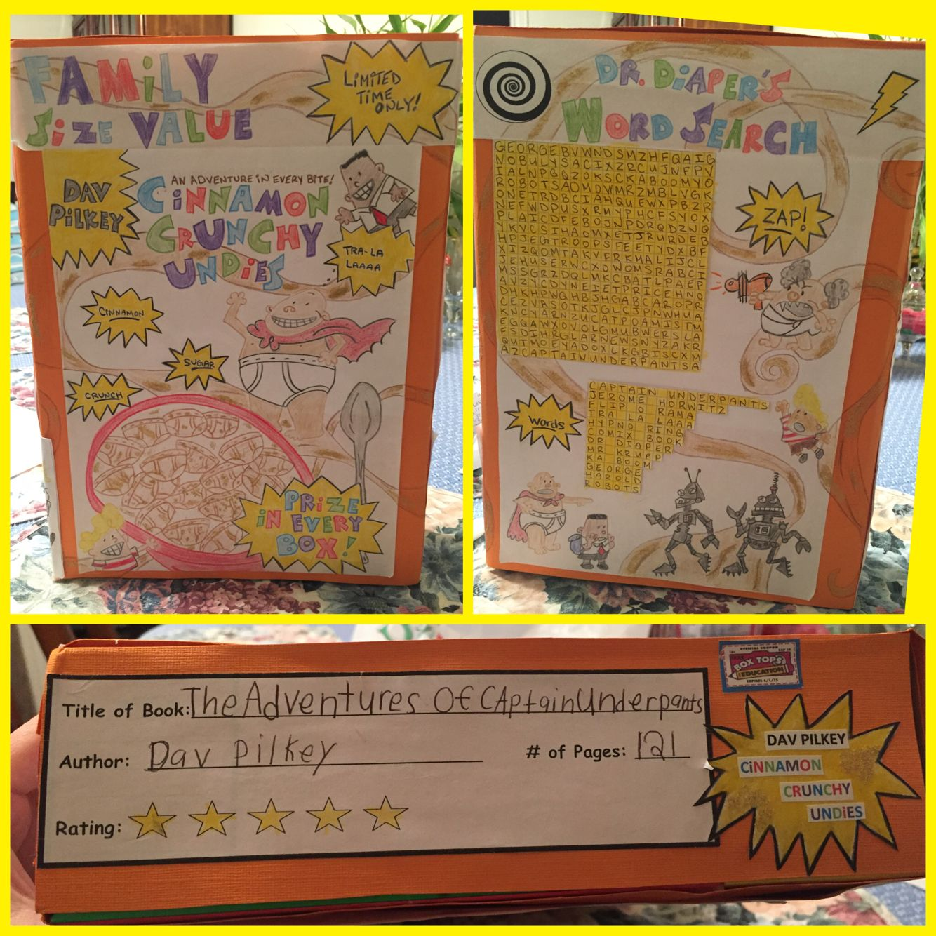 Cereal Box Book Report The Adventures Of Captain Underpants