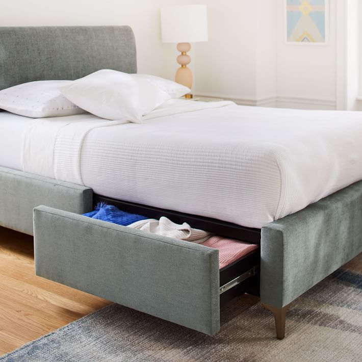 Andes Deco Upholstered Storage Bed In 2020 Modern Storage Beds