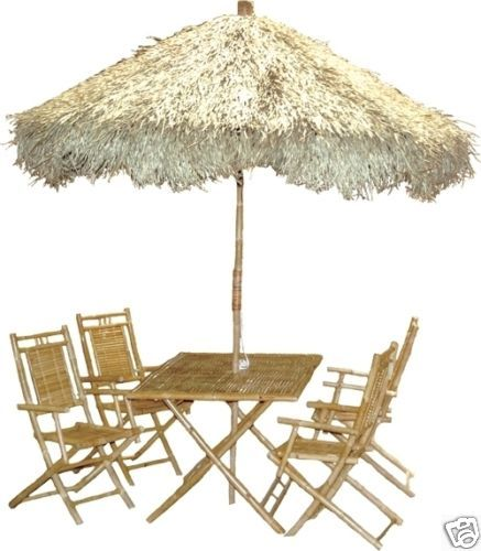 6 Piece Bamboo Palapa Thatch Umbrella Patio Table Set 805 479 Tiki 8454 M F 9am 5pm Pst Ebay User Id Tikitoesca Or Email Address Aol
