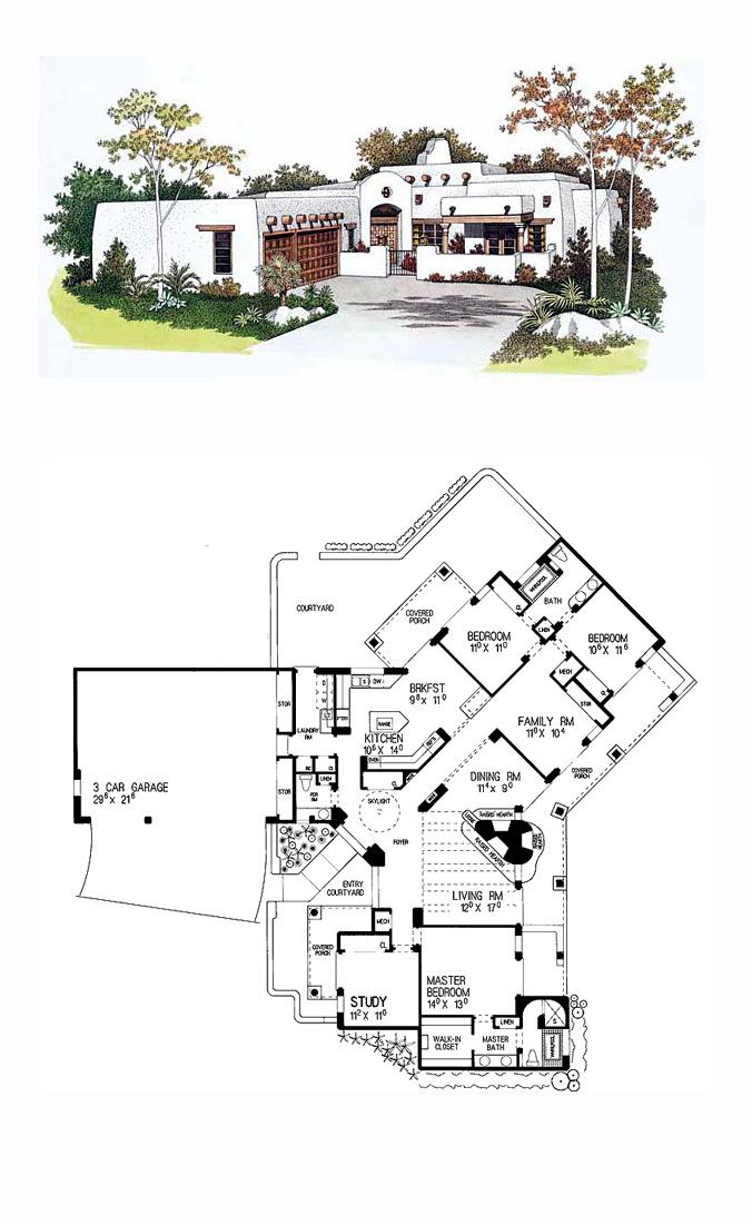 Southwest Style House Plan 99276 With 4 Bed 3 Bath 3 Car Garage Courtyard House Plans Adobe House Southwest House