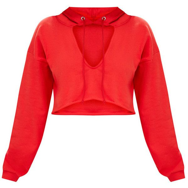 225f7f615ae33 Shape Red Crop Open Neck Hoodie ( 19) ❤ liked on Polyvore featuring tops