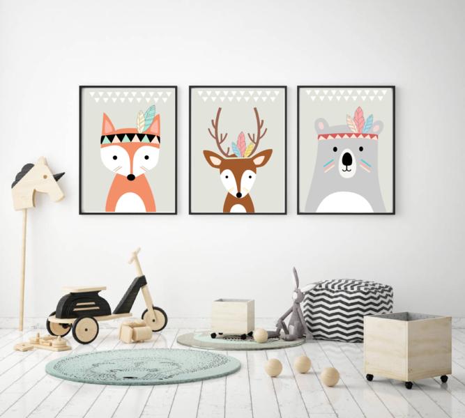 Trio nursery wall art poster print kids room a3