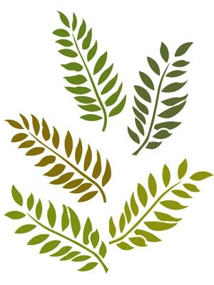 Stencil Theme Pack, shown here in Ash Green and Willow Stencil - editable leaf template