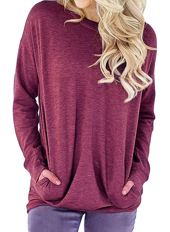 7edfaf5beb4ae8 Clothing RJXDLT Womens Casual Long Sleeve Round Neck Sweatshirt Loose Soft  with Pockets Pullover Blouse Tops Shirt Tunics