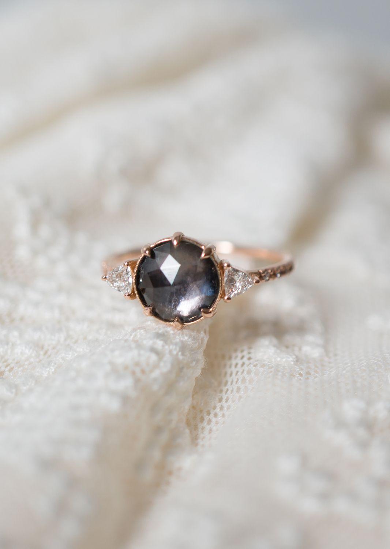 A romantic montana sapphire set with vintage diamonds wedding