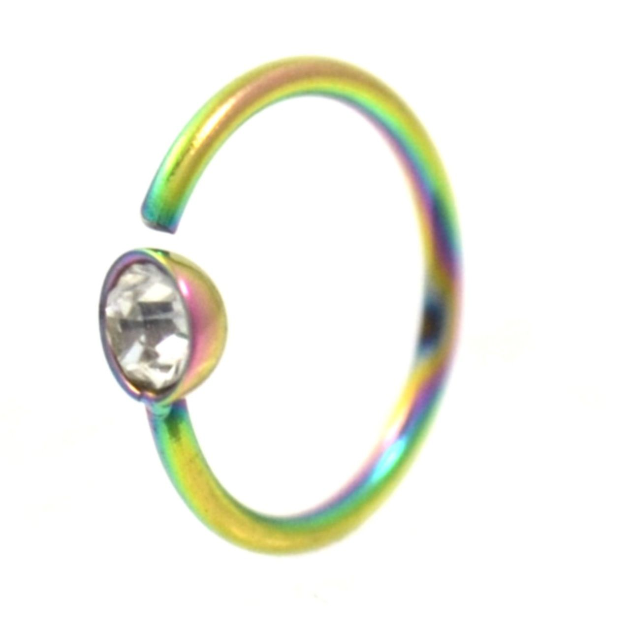 Corkscrew nose piercing  Clear CZ Rainbow Plated Nose Hoop Ring G