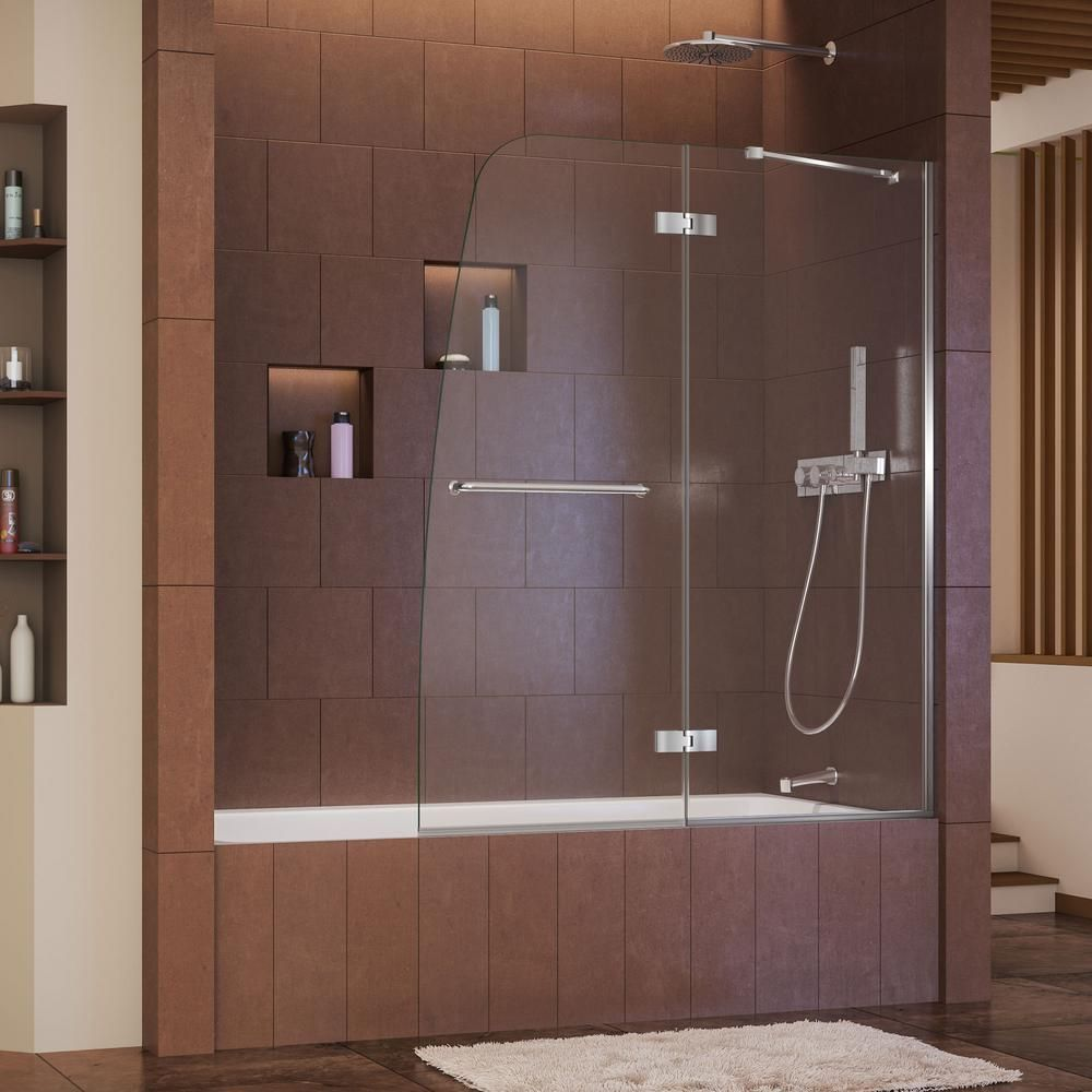DreamLine Aqua Ultra 48 in. x 58 in. Semi-Frameless Pivot Tub/Shower ...