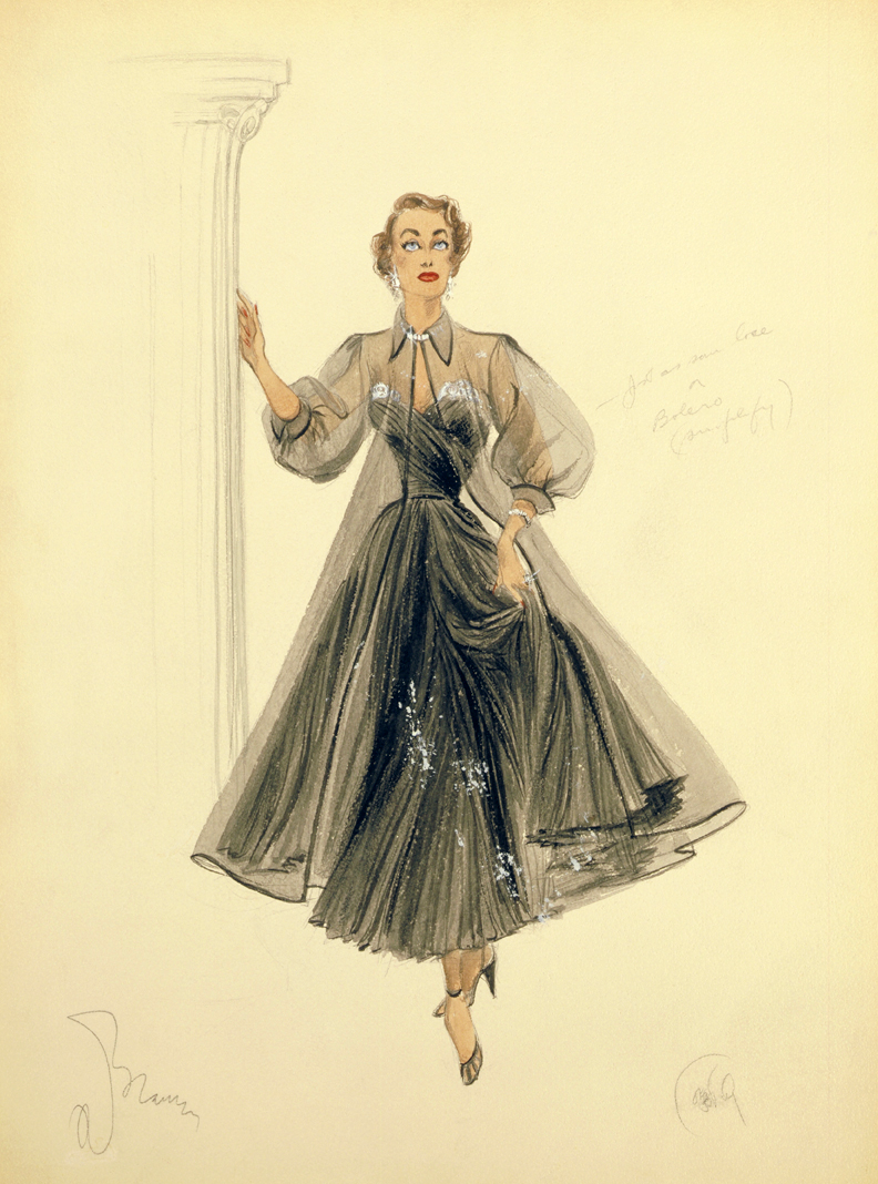 Edith Head costume designer drsign sketchs. This was for Joan  Crawford in a movie Ive seen, but Ive forgotten the name of the film.