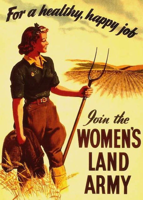 0a01e1361adf Art Print WWII Womens Land Army Poster, Print | Products | Ww2 ...