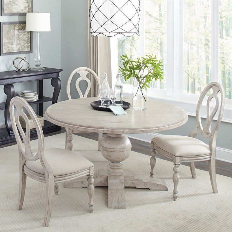 Homestead 48 Inch Round Dining Room Set Linen Round Dining