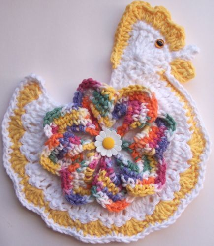 Crocheted Chicken Rooster Potholder Made From Cotton Yarn