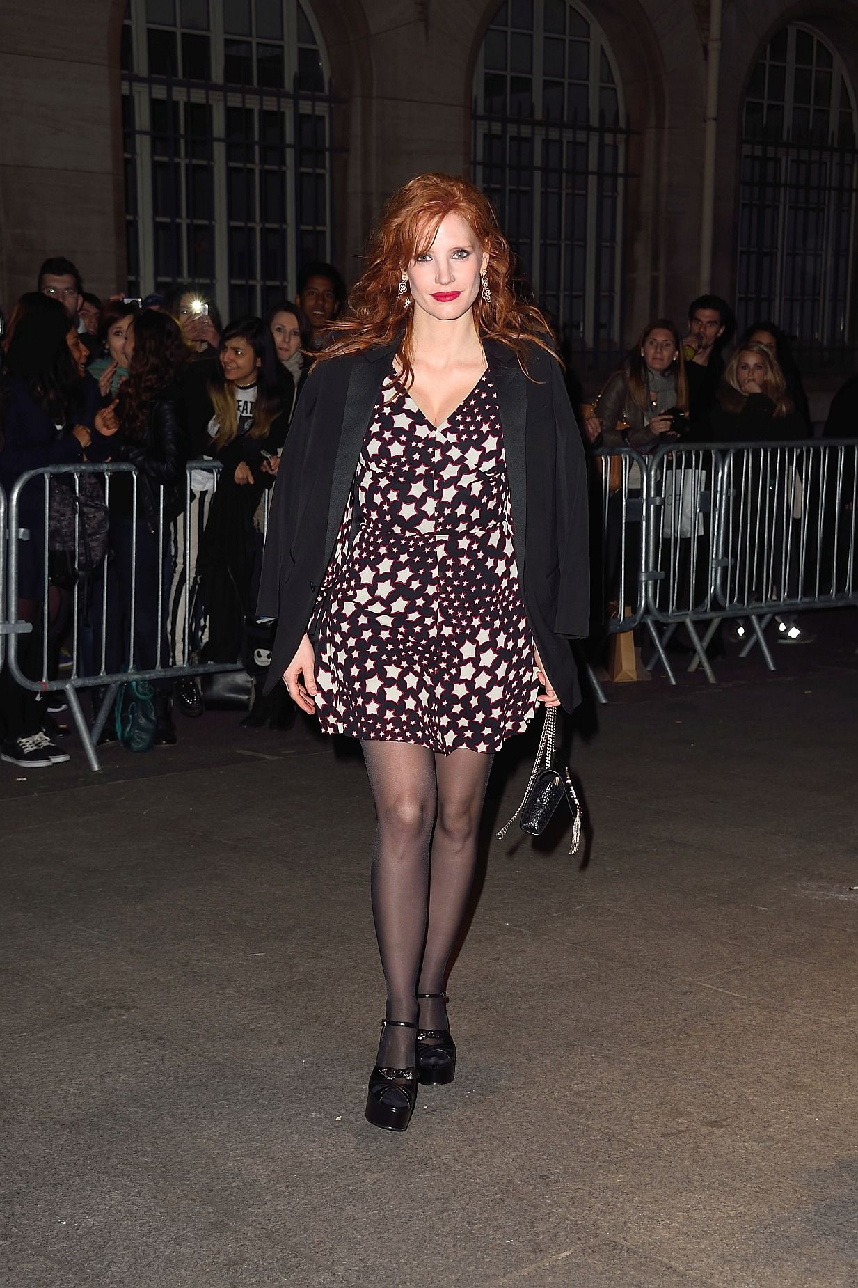 Jessica Chastain in sheer tights Paris March 09, 2015 ...