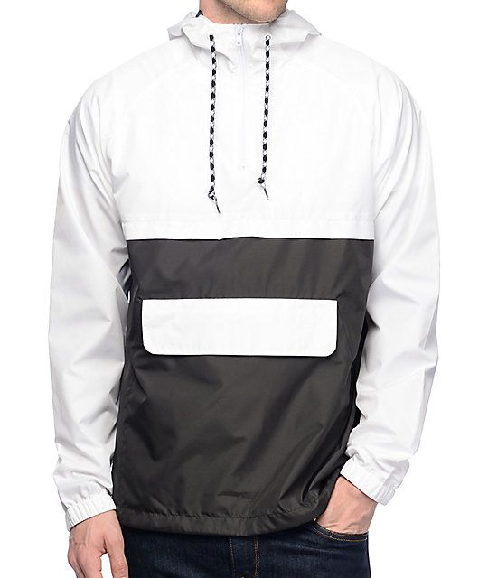 Zine Unlimited White & Black Anorak Windbreaker Jacket ...