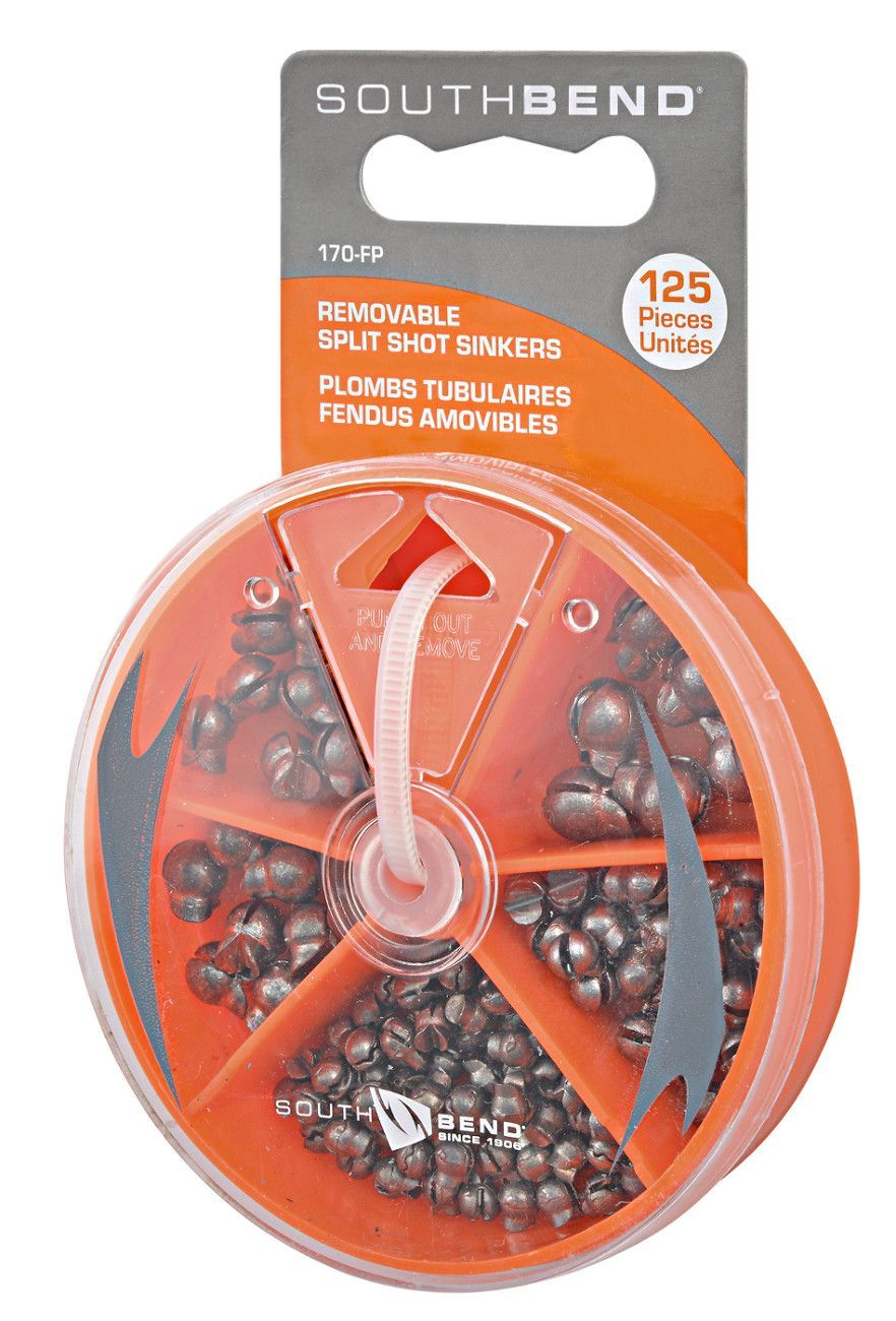 South Bend 125 Piece Assorted Removable Split Shot Sinkers