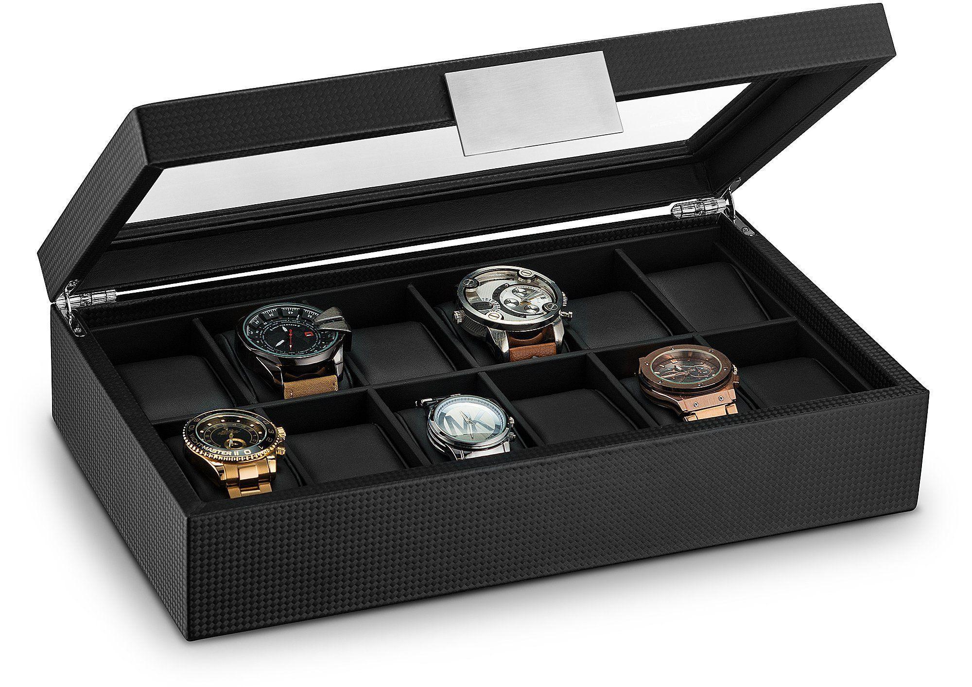 Glenor Co Watch Box For Men 12 Slot Luxury Carbon