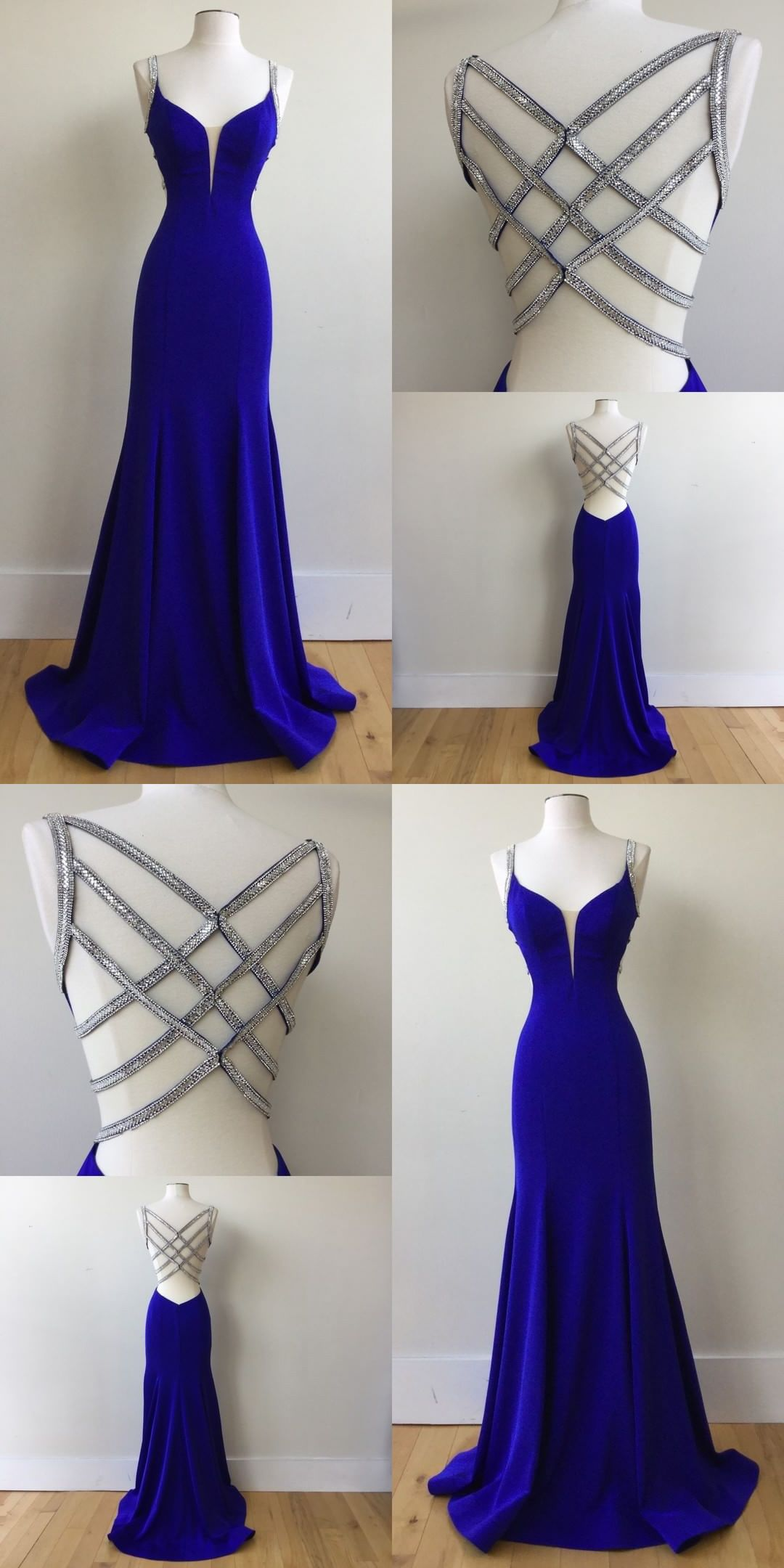 3e196a5b855 Charming Mermaid V Neck Cross Back Royal Blue Long Prom Dresses with Beading