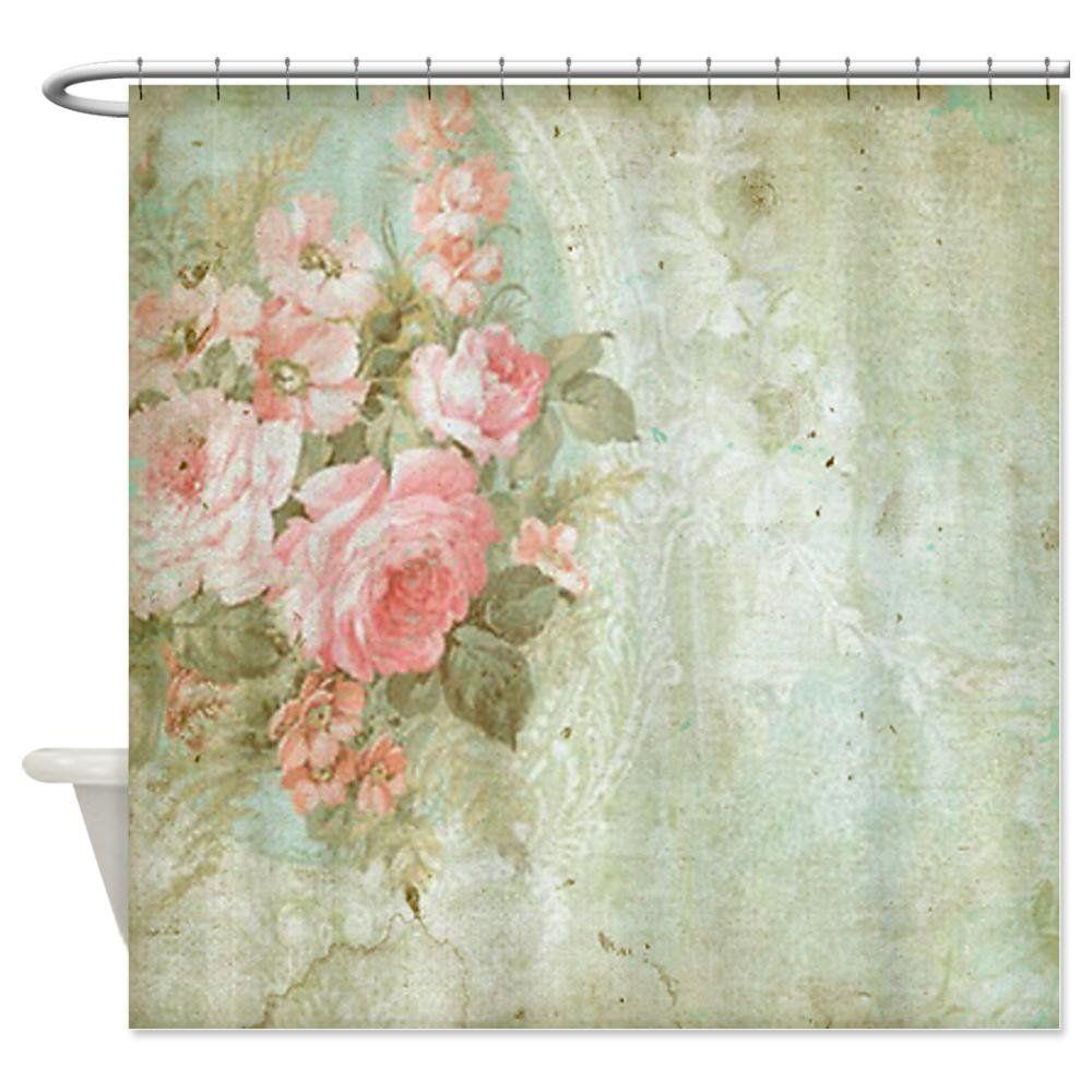 Amazon.com - CafePress Chic vintage pink rose Shower Curtain ...