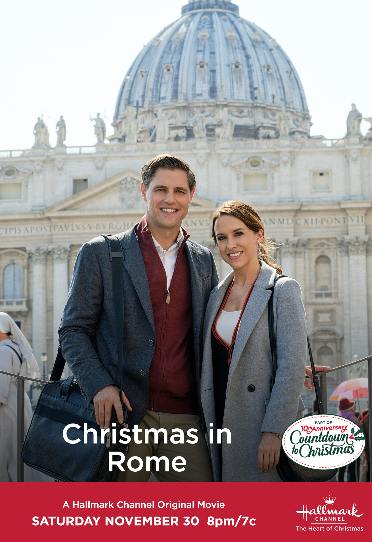 """Lacey Chabert and Sam Page star in """"Christmas in Rome,"""" their"""