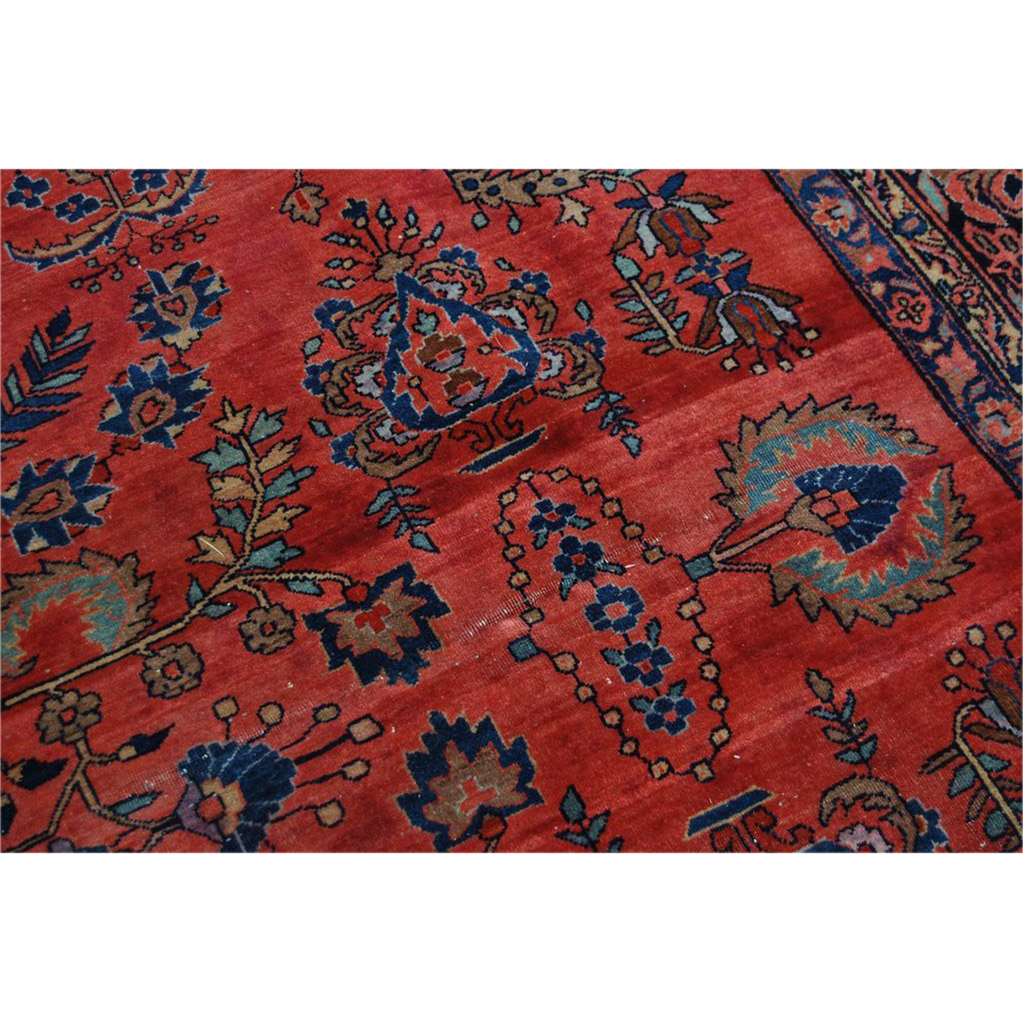 Antique Persian Hand Knotted Sarouk Red Blue Wool Area Rug Oriental Vintage